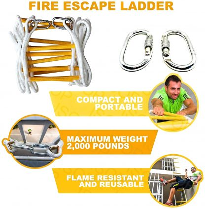Rope Ladder Fire Escape 32 ft with Full Body Harness 6