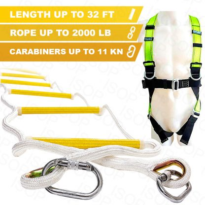 Rope Ladder Fire Escape 32 ft with Full Body Harness 1