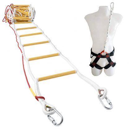 Emergency Fire Escape Ladder 4 story 32 ft with Safety Harness 1