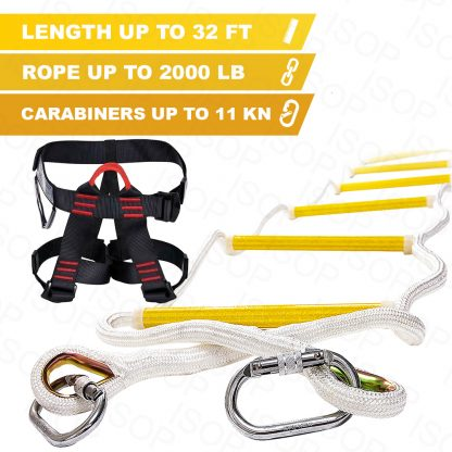 Emergency Fire Escape Rope ladder 3 Story 4 story Homes 32 Feet Flame Resistant Fire Safety Ladders with Hooks & Safety Belt – Fast Deploy & Simple To Use – Portable, Compact & Easy to Store- Reusable (32 ft with Safety Harness)