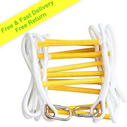 Fire Escape Rope Ladder 5 m with Carabiners - Emergency Evacuation Ladders - Flame Resistant Compact & Lightweight Safety Ropes 900 kg Weight Capacity