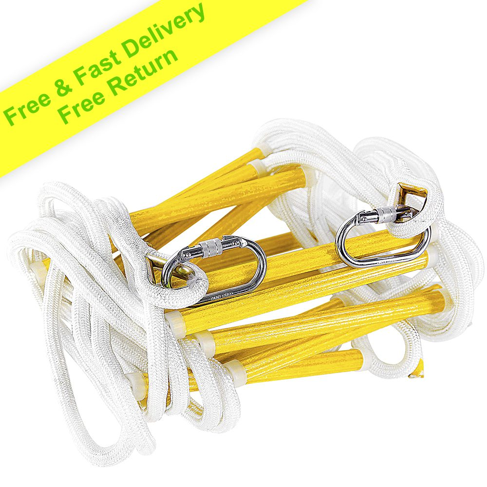 Fire Escape Ladder 3 Story 8m Flame Emergency Rope Ladder with Carabiners – Fast to Deploy & Easy to Store - Weight Capacity up to 2000 Pounds