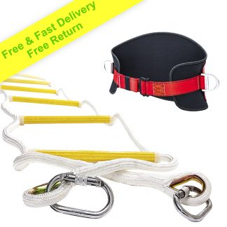 Emergency Fire Escape Rope ladder 3 Story 4 story Homes 32 Feet Flame Resistant Fire Safety Ladders with Hooks & Safety Belt – Fast Deploy & Simple To Use – Portable, Compact & Easy to Store- Reusable