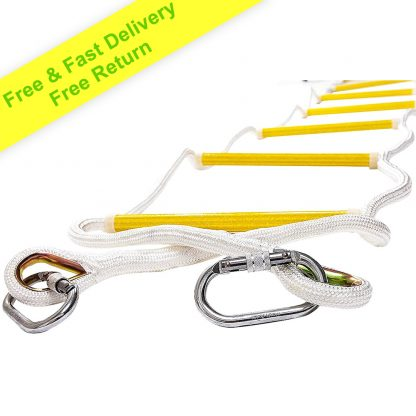 Rope Ladder Fire Escape Use | Emergency Exit Ladder 2.5m (8ft) Retractable Safety Rope Ladders with Carabiners – Lightweight & Compact | Multi Function | Reusable