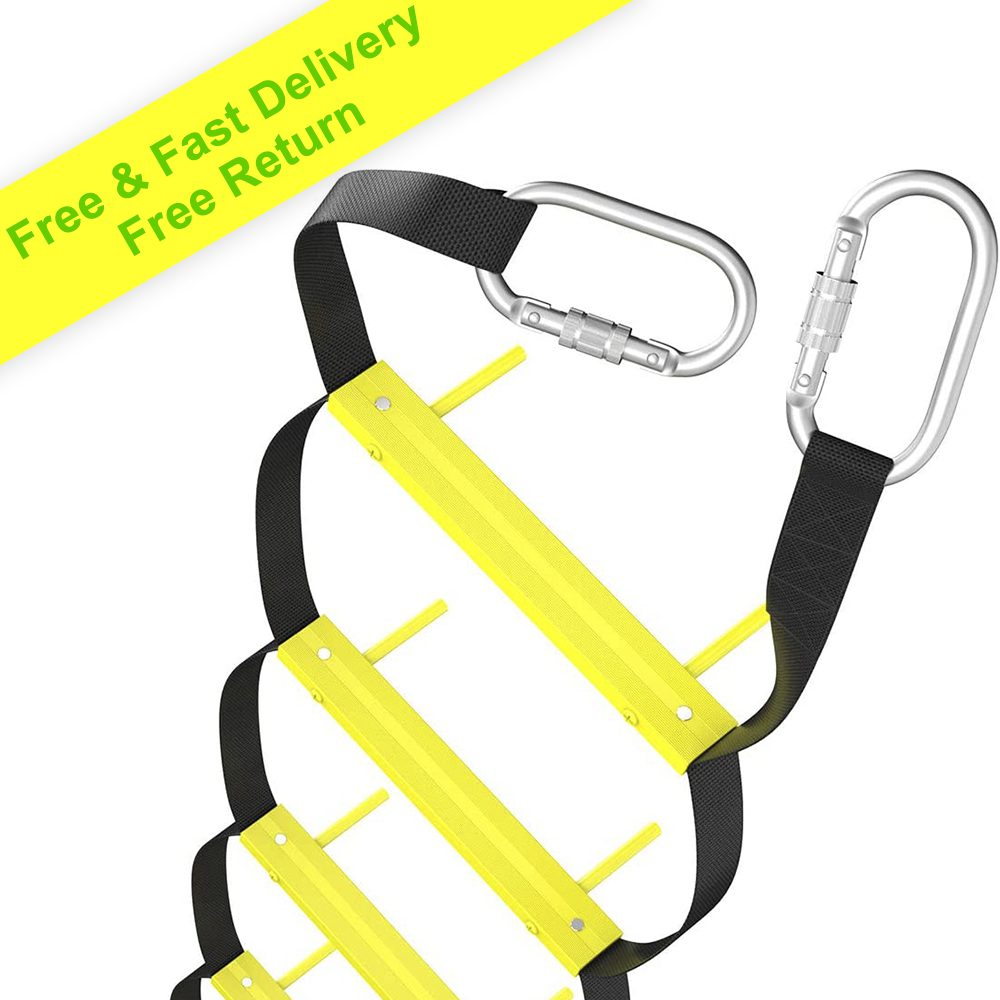 ISOP Fire Escape Ladders 13 ft | Retractable Ladders for 2 Story Homes | Compact & Portable | Rope Ladder Suitable for Balcony & Windows Escape | FREE DELIVERY WITHIN 3-7 DAYS