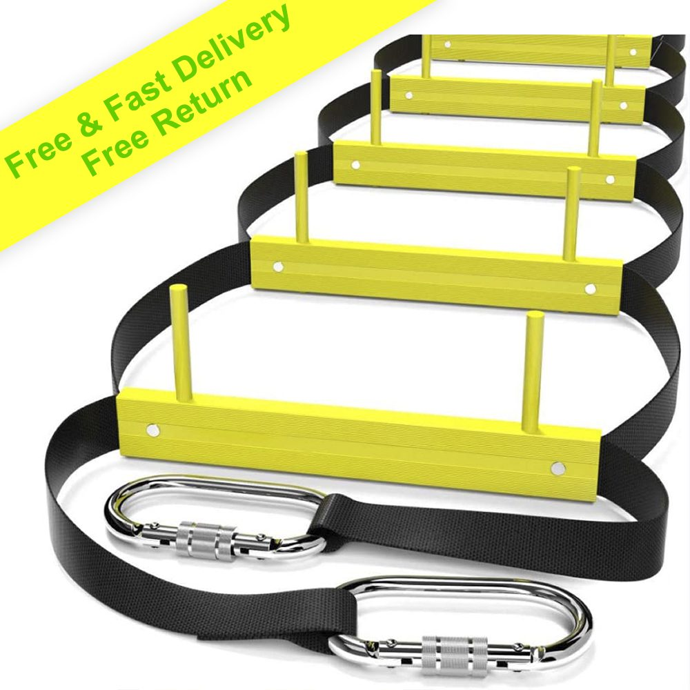 Fire Escape Ladder 3 Story | Rope Ladder Fire Escape for Homes 3rd Floor | Portable, Foldable & Compact | Emergency Ladder Suitable for Balcony & Windows