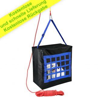 Notausgang Tasche für Kinder oder Haustiere bis 70 kg - Not-Fluchttasche durch Fenster oder Balkonseil 15 m und Karabiner inklusive