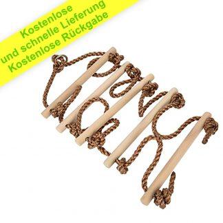 ISOP Outdoor-Zubehör - Kletterseilleiter für Kinder | Baumleiter Spielgeräte | Holzleiter Slack-Line mit Karabinern | Schaukelseilleiter | Kinder-Kletterspielzeug für Schaukelhof