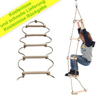ISOP Schaukelseilleiter für Kinder 3 m und Erwachsene - Baumhausleiter für Kinder - Kletterausrüstung - Geeignet für Bunker oder Loft