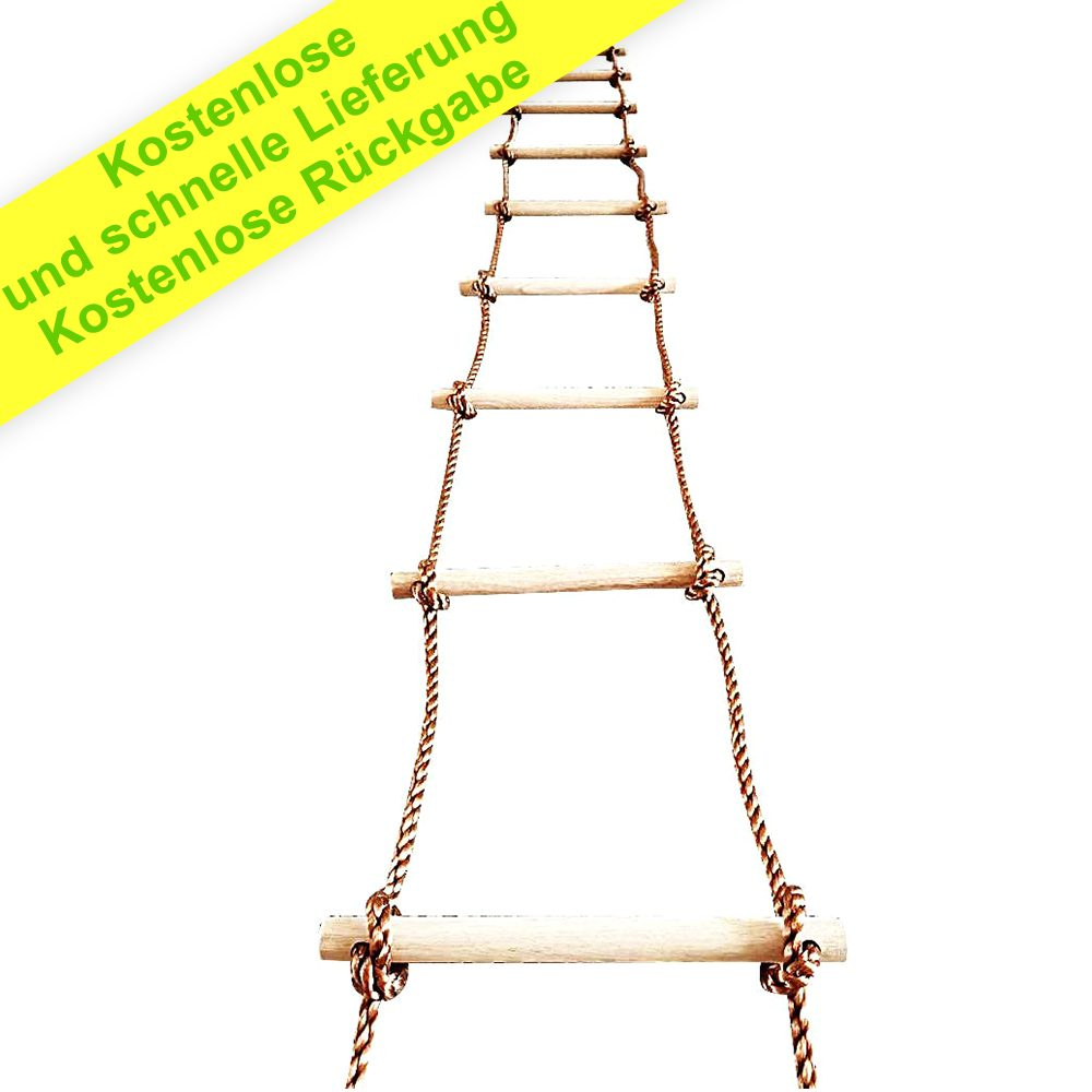 Baumkletterseilleiter 5 m - Zubehör für Schaukeln im Außen- und Innenbereich - Spielgeräte - Geeignet für Dachgarten- oder Wandmalerei