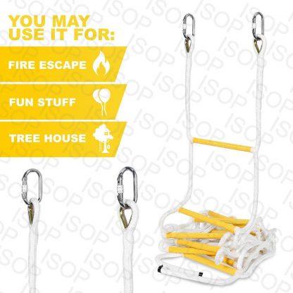 ISOP Escalera de Cuerda de 2,5 m para trepar a la casa del árbol 2