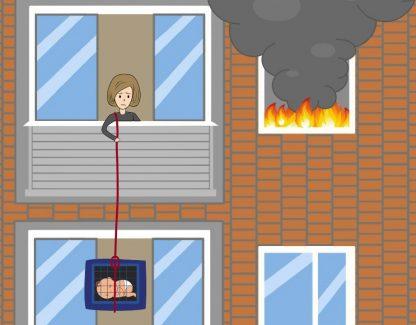 Dispositivo de Evacuación de Incendios Para Niños o Mascotas de Hasta 35 kg 1