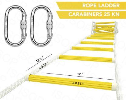ISOP Escalera de Cuerda de 2,5 m para trepar a la casa del árbol 3