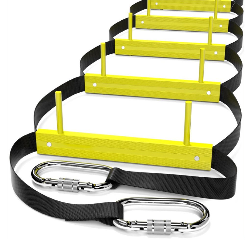 Escaleras de escape de incendios ISOP 13 pies | Escaleras retráctiles para casas de 2 pisos | Compacto y portátil | Escalera de cuerda adecuada para balcón y escape de ventanas