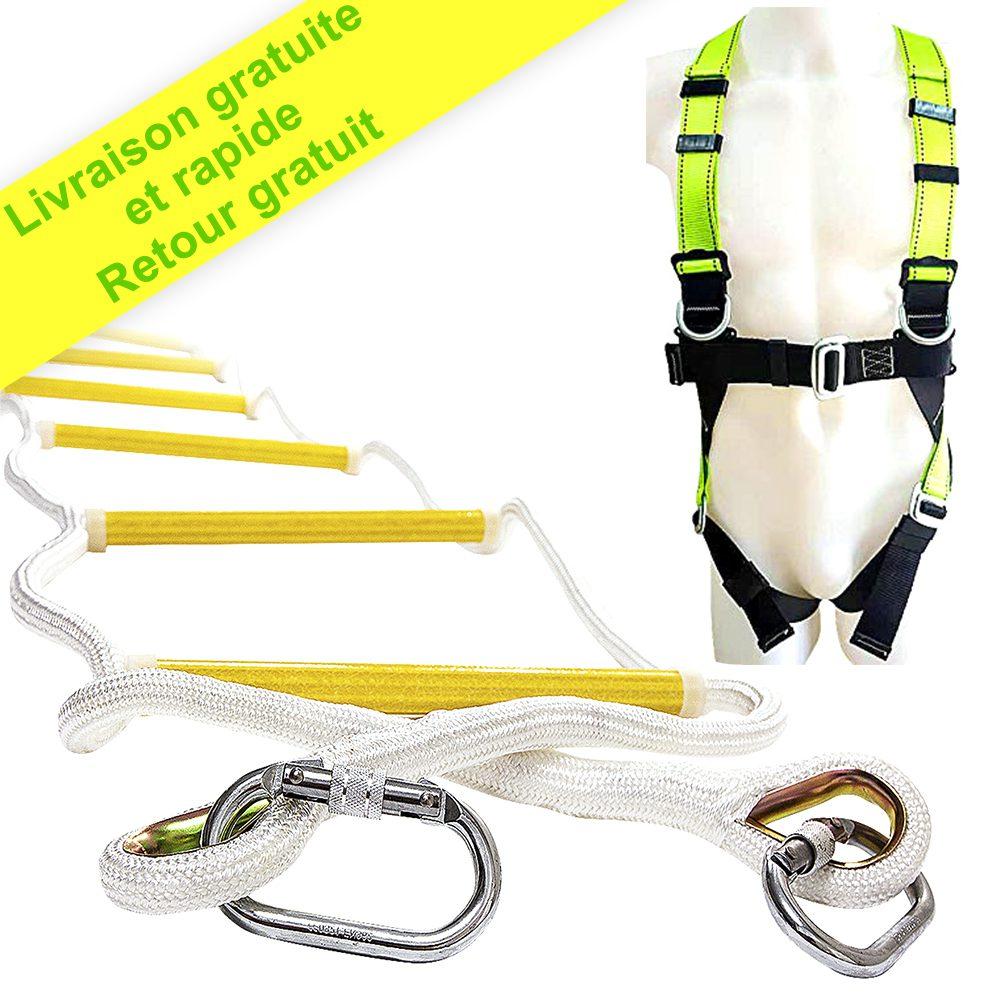 Échelle de corde Escalier de secours 10 m avec harnais complet