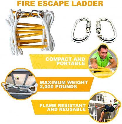 ISOP Échelle de corde Escalier de secours 10 m avec harnais complet 6