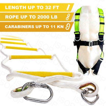 ISOP Échelle de corde Escalier de secours 10 m avec harnais complet 1