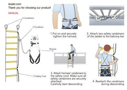 ISOP Échelle de corde Escalier de secours 10 m avec harnais complet 2