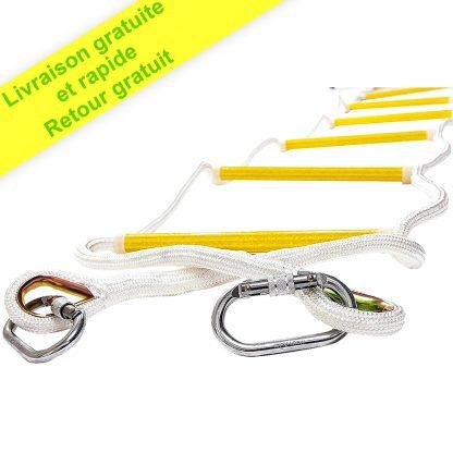 ISOP Échelle de corde pour enfants pour balançoire 2,5 m avec mousquetons 11KN   Aire de jeux et escalade