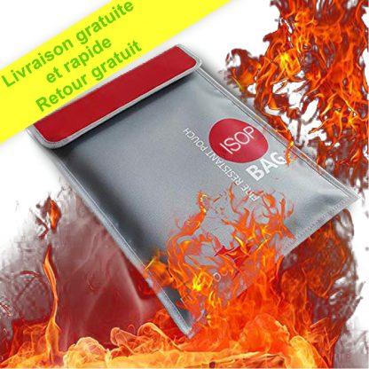 ISOP Coffre-fort ignifuge | porte-documents 38 x 28 cm enduit de silicone anti-démangeaisons | Sac d'argent étanche résistant au feu | stockage sûr pour l'argent, les documents, les bijoux et le passeport