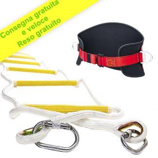 Scala antincendio 10 m con cintura di sicurezza - Scala di corda di sicurezza ignifuga con ganci - Veloce da installare e facile da usare - Compatta e facile da riporre