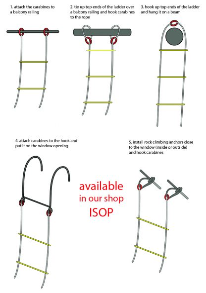 ISOP Scala antincendio di emergenza 4 piani 10 m con imbracatura di sicurezza 6