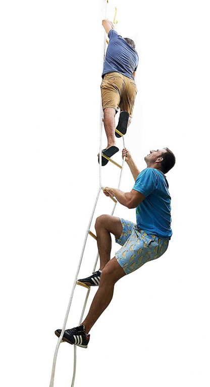 ISOP Brandtrap touwladder 4 m met haken 2 verdiepingen 2