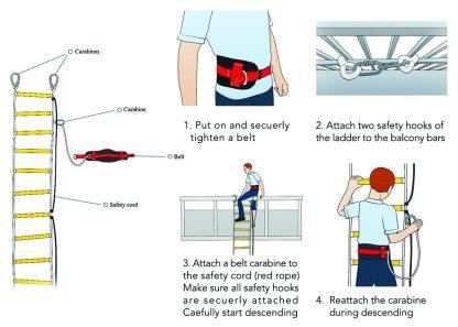Noodladder Brandtrap 10 m met veiligheidskoord 1
