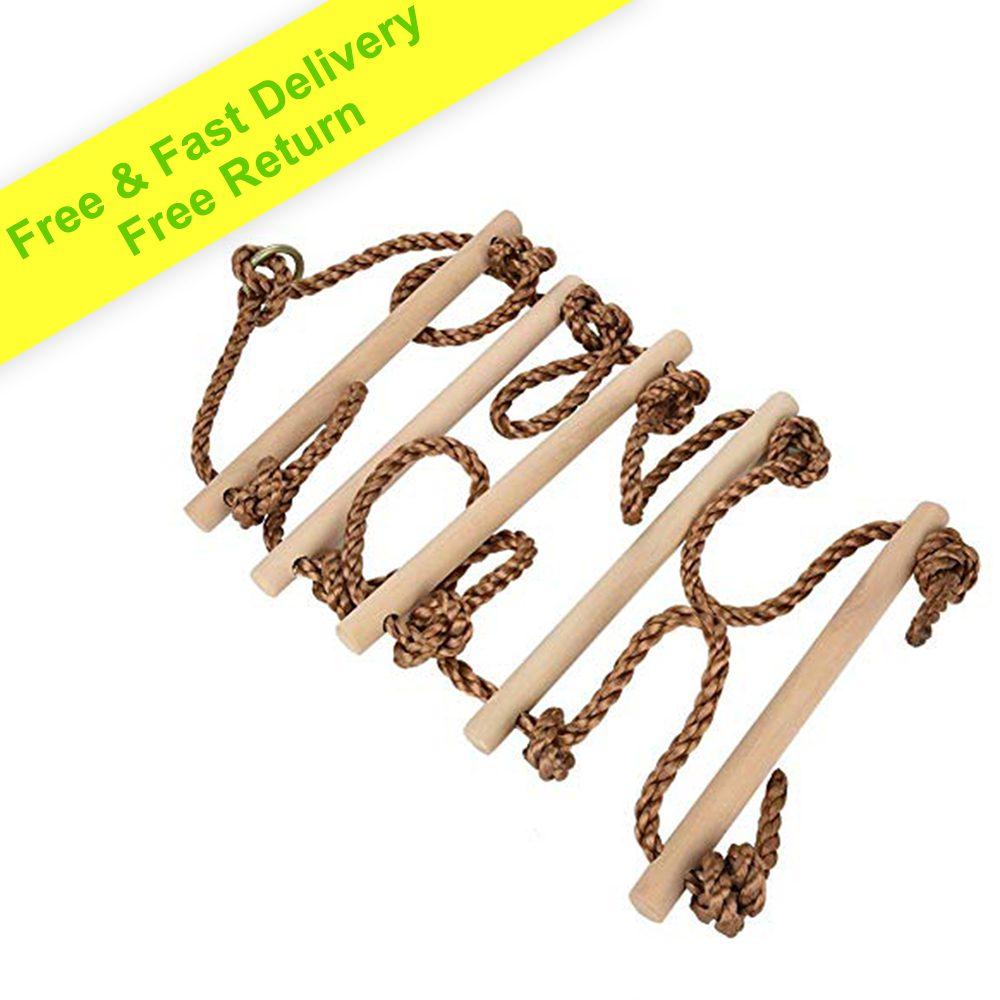 Akcesoria outdoorowe - Drabinka wspinaczkowa dla dzieci 2 m | Drabina na drzewo Sprzęt do zabawy |Drewniana drabinka luźna z karabińczykami |Drabina z huśtawką |Zabawki do wspinaczki dla dzieci na huśtawce