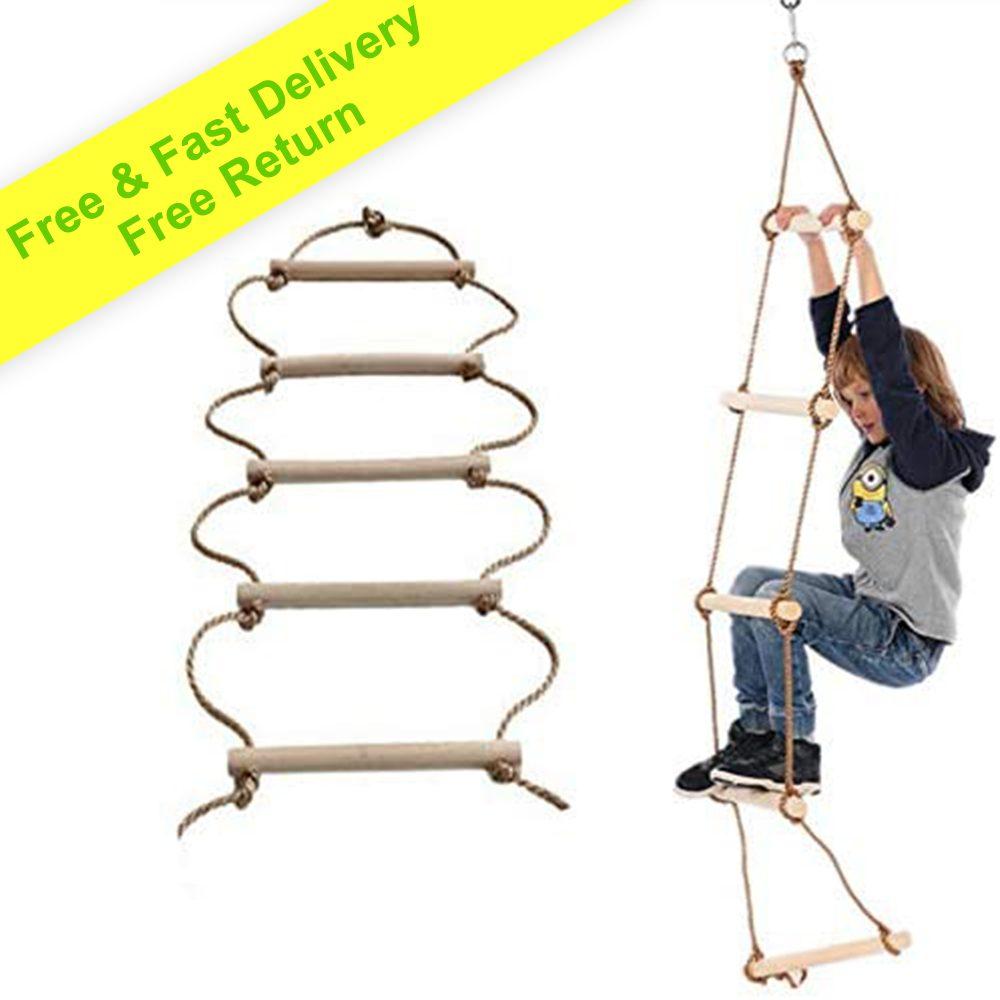 Zestaw huśtawkowy Drabina linowa dla dzieci 3 m i dorosłych - Drabina do domku na drzewie dla dzieci - Sprzęt do wspinaczki do ćwiczeń - Nadaje się do bunkra lub strychu | DARMOWA DOSTAWA W CIĄGU 3-7 DNI