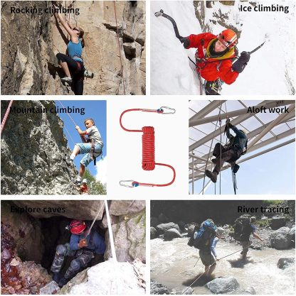 ISOP Outdoor indoor Climbing Rope 75ft (23m) 8mm with Carabiners 5