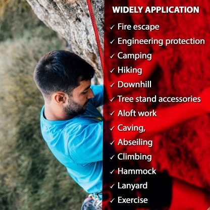 ISOP Outdoor indoor Climbing Rope 75ft (23m) 8mm with Carabiners 2