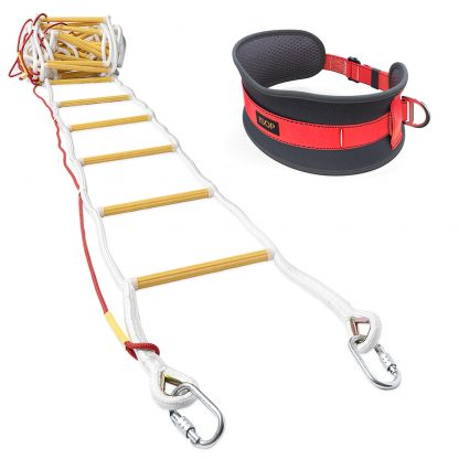 Emergency Fire Escape Rope Ladder 3 - 4 Story 32 ft with Safety Belt 4