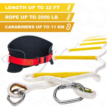 Emergency Fire Escape Rope Ladder 3 - 4 Story 32 ft with Safety Belt 1
