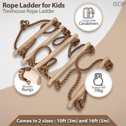 Tree Climbing Rope Ladder for Kids 16ft (5m) or Adults 1