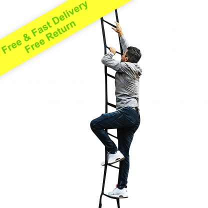 Kids Ladder 6.5ft Made in USA | Multi-use Webbing Ladder - Carabiners & Black Bag Included - 6 Foot Ladder Lightweight & Reliable Holds up to 460 lbs. | Indoor / Outdoor Climbing Ladder